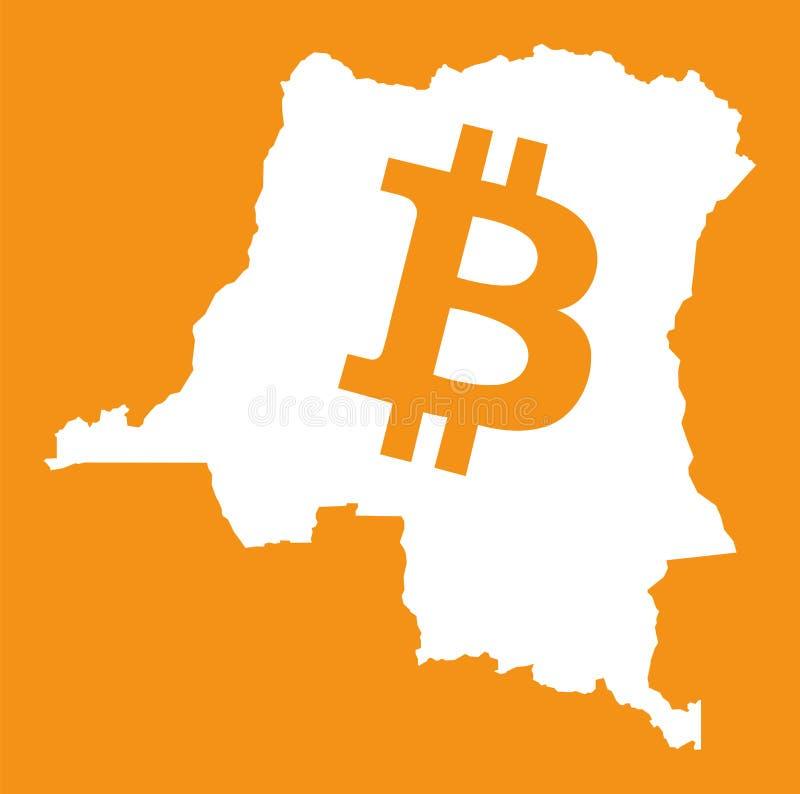 Δημοκρατικός χάρτης Δημοκρατίας του Κονγκό με crypto bitcoin το symbo νομίσματος ελεύθερη απεικόνιση δικαιώματος