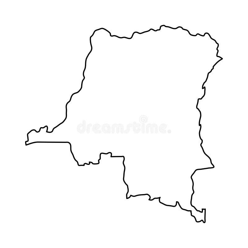 Δημοκρατικός χάρτης του Κονγκό Δημοκρατίας των μαύρων καμπυλών περιγράμματος στο άσπρο β διανυσματική απεικόνιση
