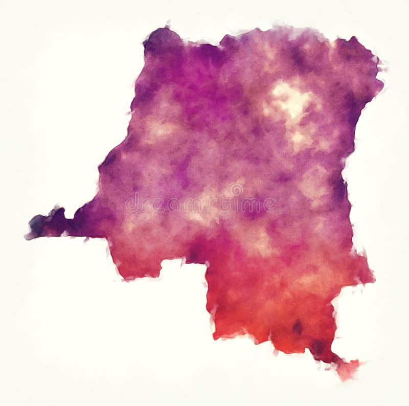 Δημοκρατικός χάρτης watercolor Δημοκρατίας του Κονγκό μπροστά από μια λευκιά ΤΣΕ διανυσματική απεικόνιση