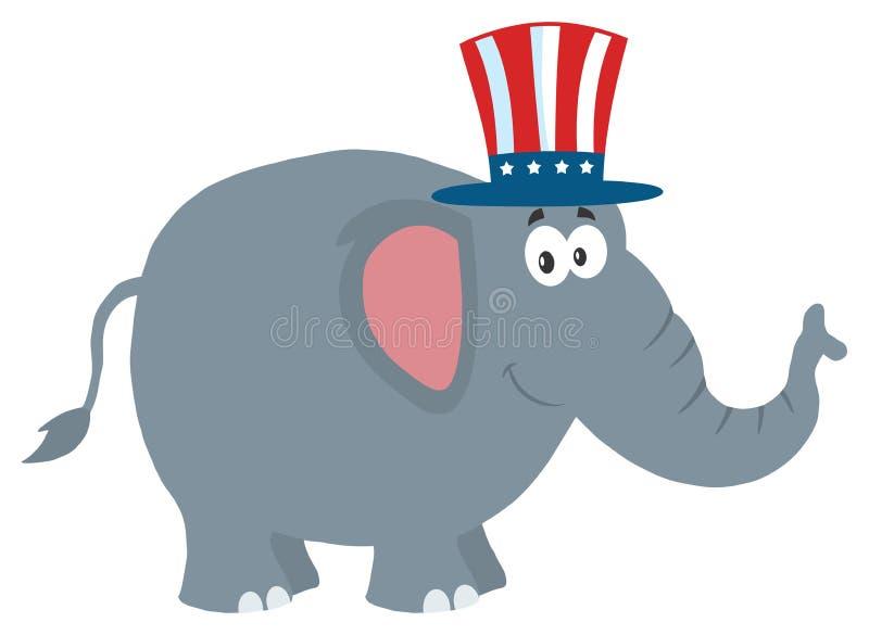 Δημοκρατικός χαρακτήρας κινουμένων σχεδίων ελεφάντων με το καπέλο θείων Σαμ απεικόνιση αποθεμάτων