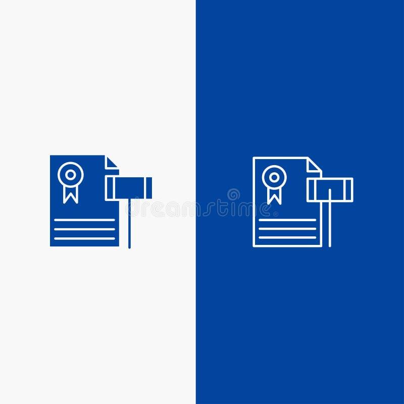Δημοπρασία, εκλεκτής ποιότητας, ακριβός, αμμοχάλικο, γραμμή δικαστών και στερεά γραμμή εμβλημάτων εικονιδίων Glyph μπλε και στερε διανυσματική απεικόνιση
