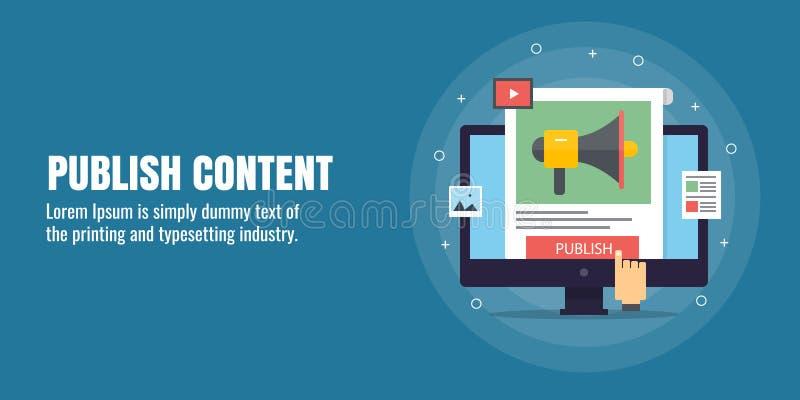 Δημοσιεύστε το περιεχόμενο, ψηφιακό μάρκετινγκ περιεχομένου, ανάπτυξη, διανομή, δημοσίευση, ικανοποιημένη προώθηση, ακροατήριο πρ απεικόνιση αποθεμάτων