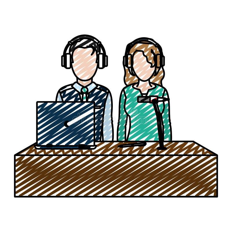 Δημοσιογράφοι συνεργατών ανδρών και γυναικών Doodle με το lap-top ελεύθερη απεικόνιση δικαιώματος