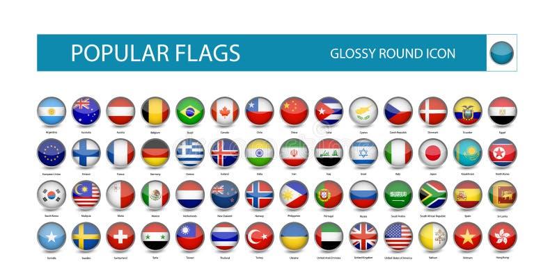 Δημοφιλές στιλπνό στρογγυλό εικονίδιο σημαιών ελεύθερη απεικόνιση δικαιώματος