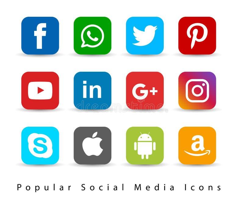 Δημοφιλή κοινωνικά εικονίδια μέσων διανυσματική απεικόνιση