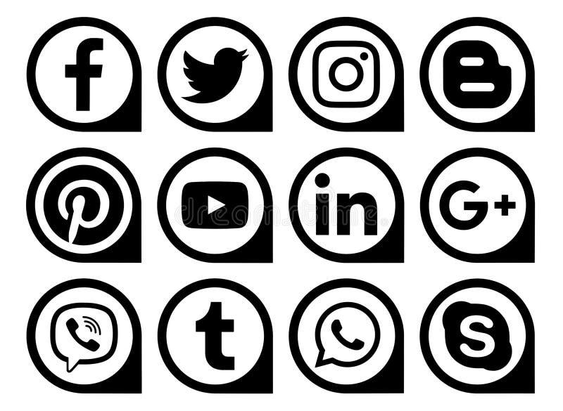 Δημοφιλείς κοινωνικοί δείκτες εικονιδίων μέσων μαύροι ελεύθερη απεικόνιση δικαιώματος