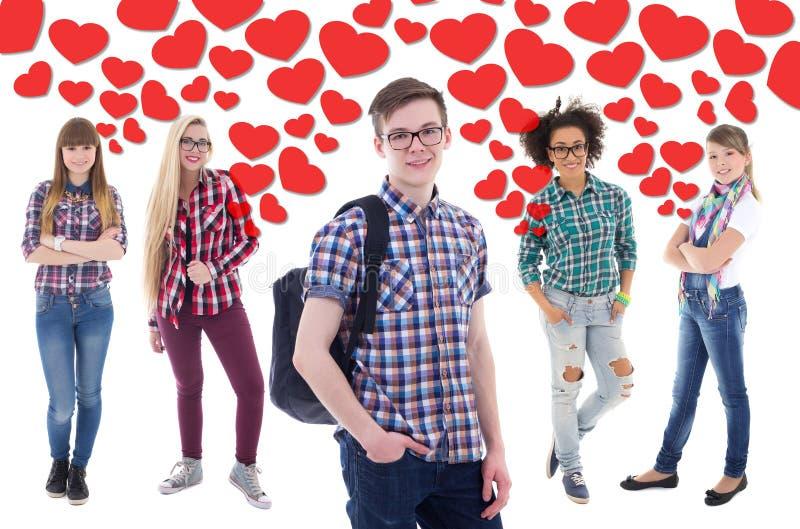 Δημοφιλές αγόρι στο σχολείο - πορτρέτο του όμορφου εφήβου με τις ΓΠ στοκ φωτογραφία