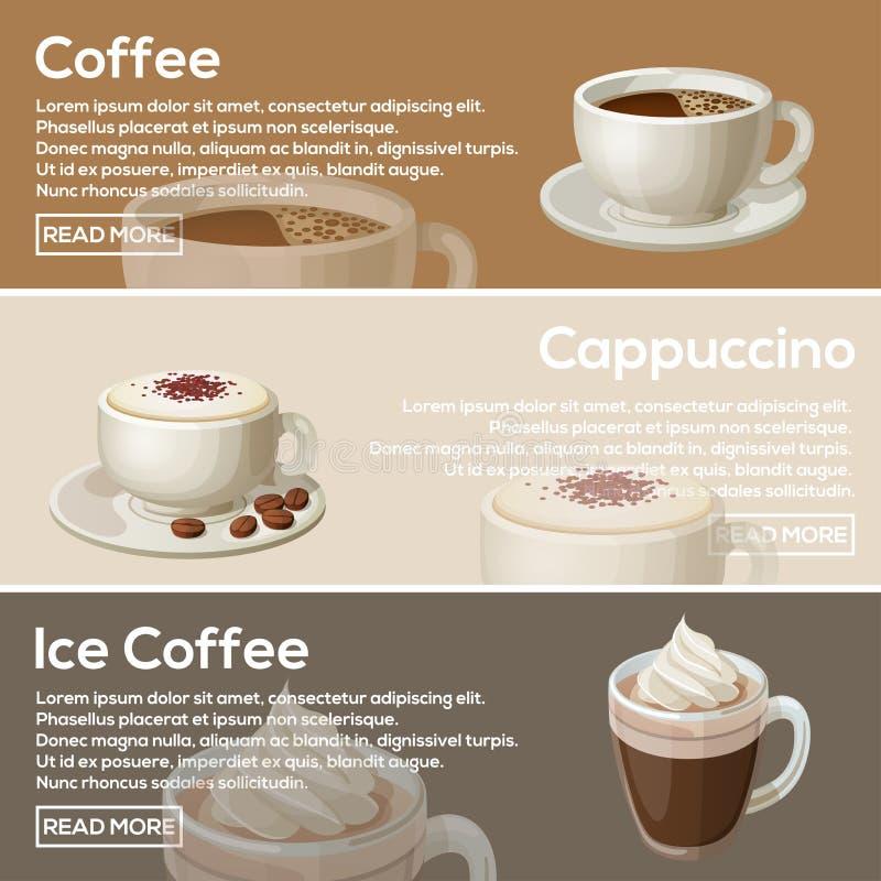 Δημοφιλές επίπεδο σχέδιο καφέ Καφές, Cappuccino, καφές πάγου στοκ εικόνες