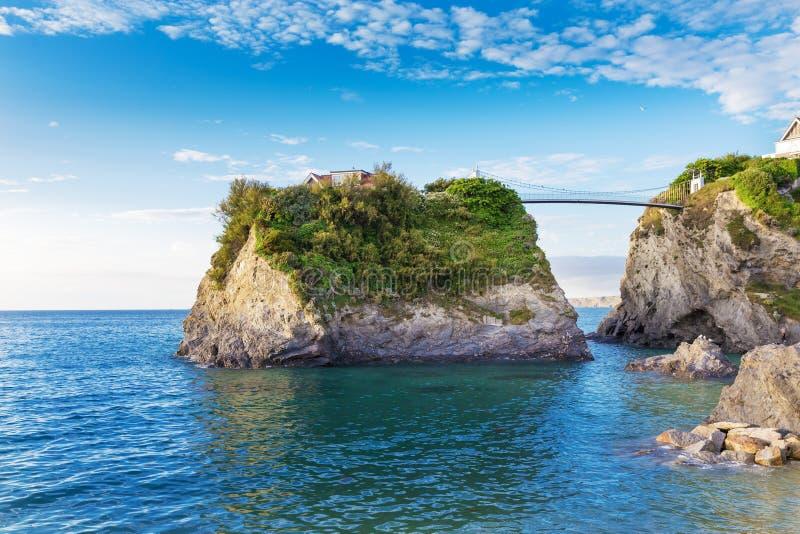 Δημοφιλής ακτή Newquay Ατλαντικός Ωκεανός, Κορνουάλλη, Αγγλία, που ενώνεται στοκ εικόνες