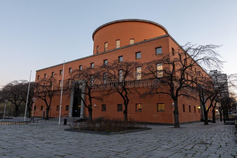 Δημόσια βιβλιοθήκη Stadtsbibliotek της Στοκχόλμης που ήταν το χτισμένο το 1920 s στη Σουηδία στοκ εικόνα