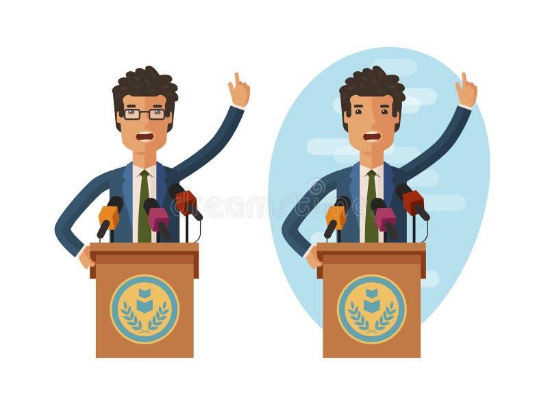 Δημόσια δήλωση Ο ομιλητής μιλά από το βήμα Διανυσματική επίπεδη απεικόνιση διανυσματική απεικόνιση