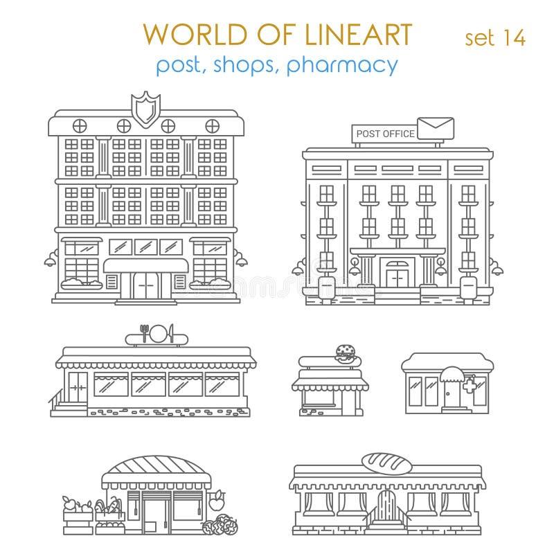 Δημόσια επιχείρηση αρχιτεκτονικής Lineart γραφική: μετα καφές καταστημάτων διανυσματική απεικόνιση
