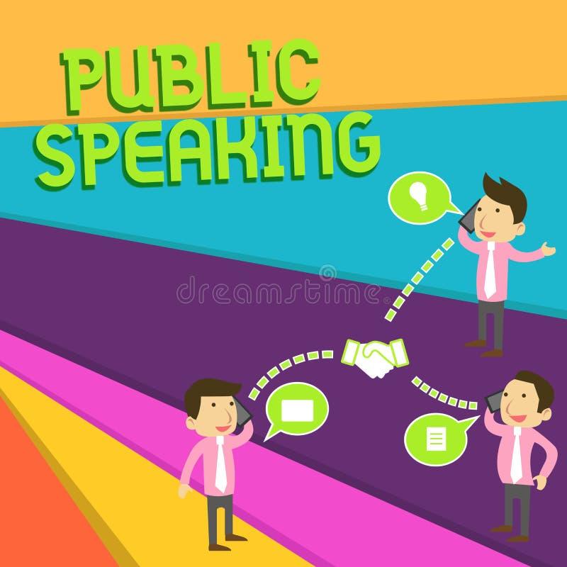 Δημόσια ομιλία κειμένων γραφής Σημασία έννοιας που μιλά παρουσιάζοντας στάδιο στους υπαγόμενους επιχειρηματίες παρουσίασης διασκέ διανυσματική απεικόνιση
