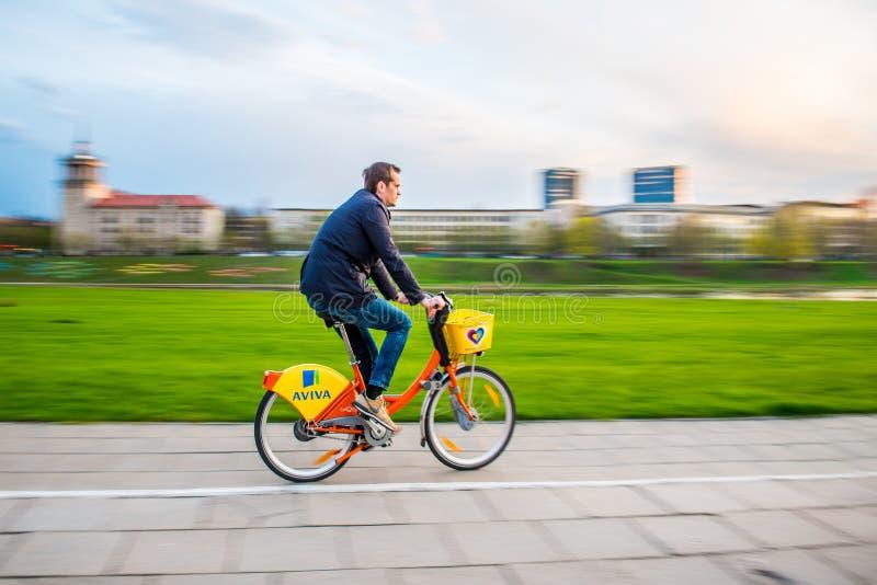 Δημόσια ποδήλατα Aviva Vilnius στοκ φωτογραφία με δικαίωμα ελεύθερης χρήσης