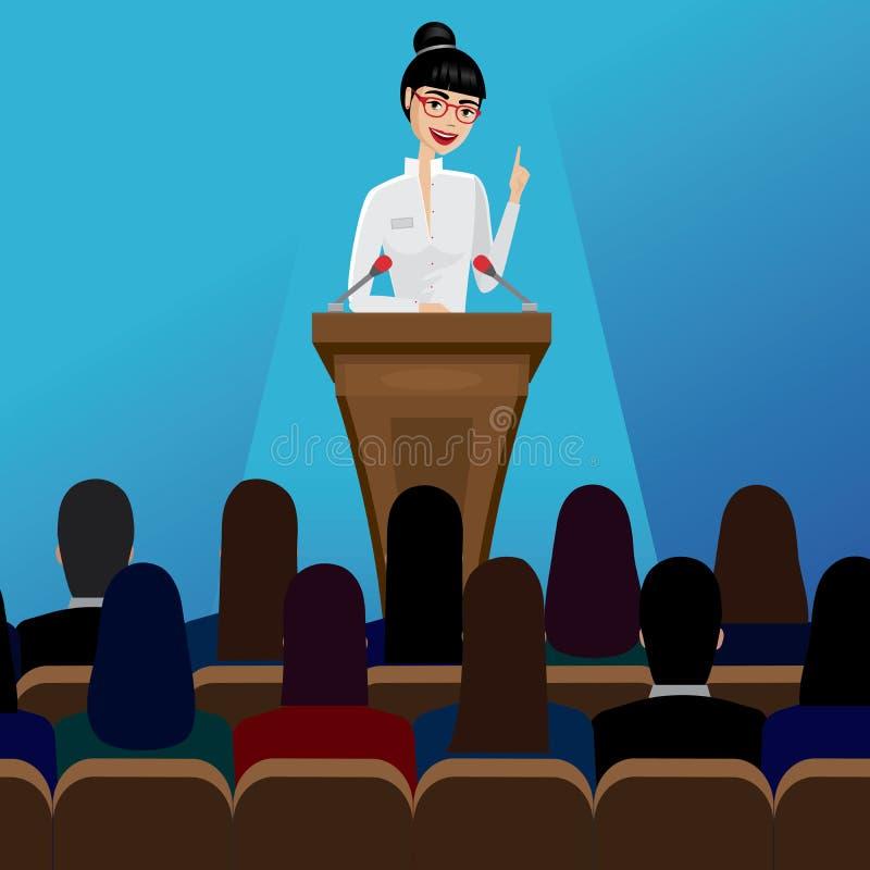 Δημόσιος ομιλητής επιχειρησιακών γυναικών στη διάσκεψη διανυσματική απεικόνιση