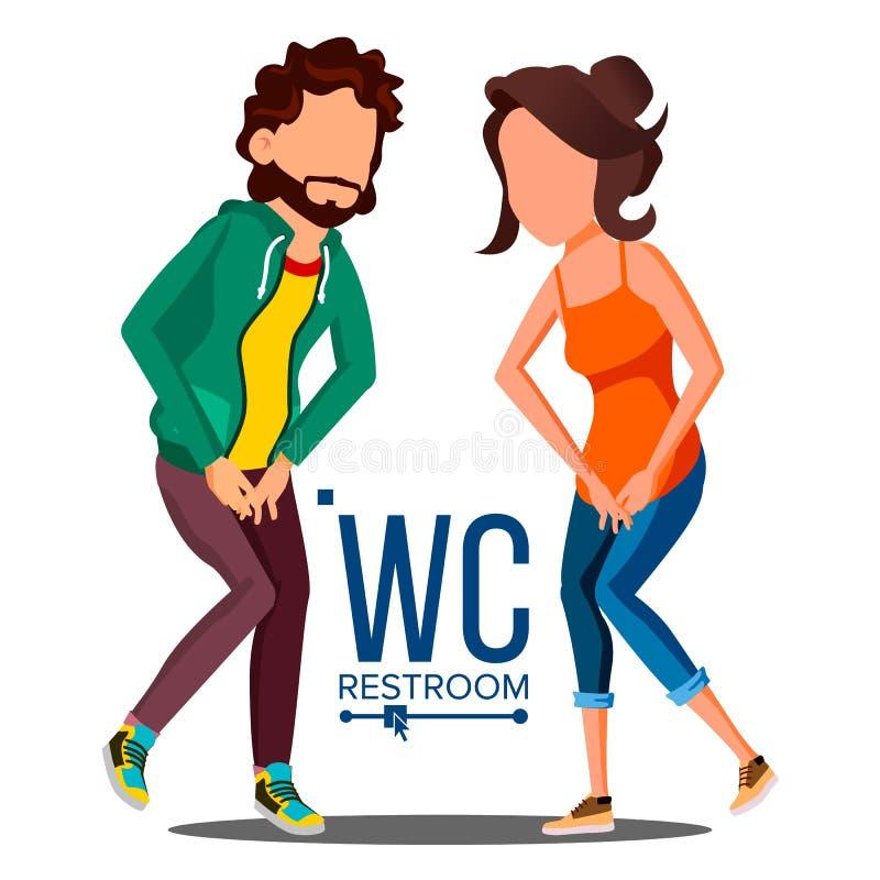 Δημόσιο διάνυσμα σημαδιών WC Στοιχείο σχεδίου πιάτων πορτών Άνδρας, γυναίκα Σύμβολα λουτρών Απομονωμένη απεικόνιση κινούμενων σχε διανυσματική απεικόνιση