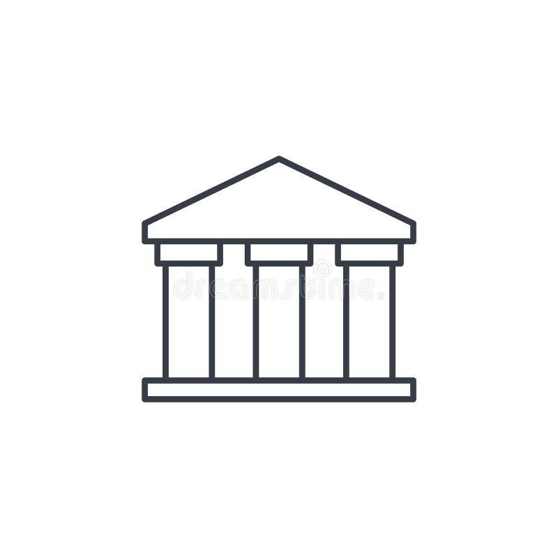 Δημόσιο κτήριο τραπεζών, πανεπιστήμιο ή μουσείο, κλασικό ελληνικό εικονίδιο γραμμών αρχιτεκτονικής λεπτό Γραμμικό διανυσματικό σύ διανυσματική απεικόνιση
