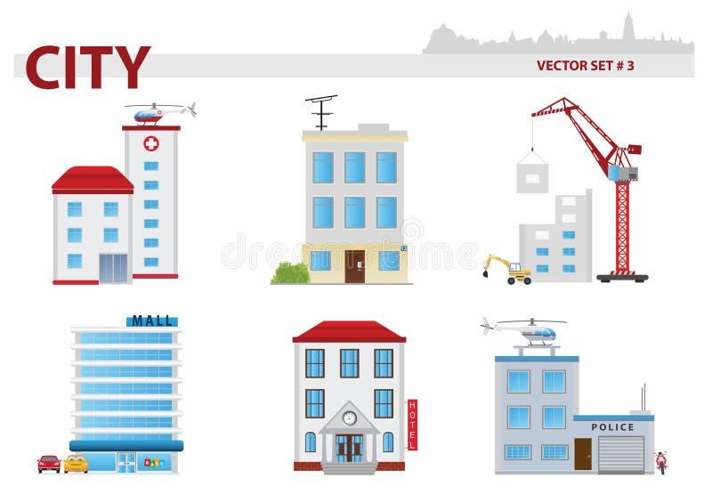 Δημόσιο κτίριο. Σύνολο 3 διανυσματική απεικόνιση