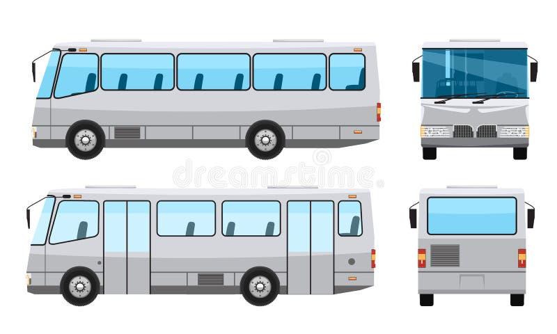 Δημόσιο λεωφορείο πόλεων με το επίπεδο και στερεό σχέδιο ύφους χρώματος Δευτερεύουσα μπροστινή και πίσω άποψη Διαφανή γυαλιά παρα ελεύθερη απεικόνιση δικαιώματος