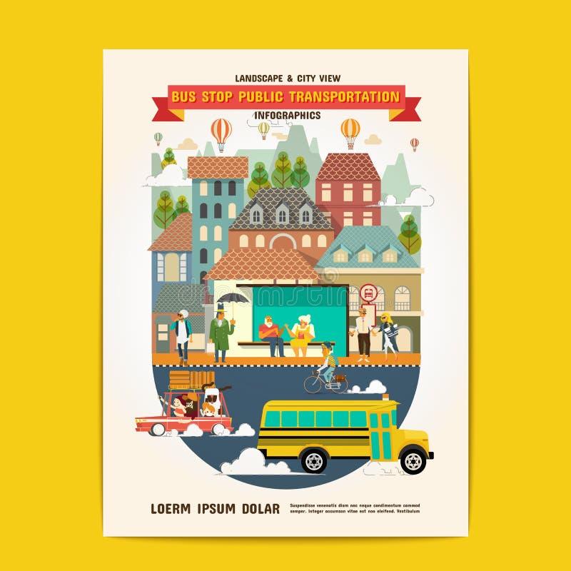 Δημόσιο μέσο μεταφοράς στάσεων λεωφορείου απεικόνιση αποθεμάτων