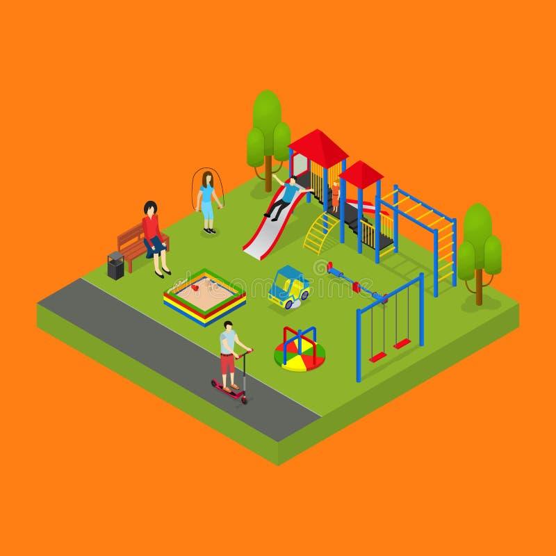 Δημόσιο πάρκο πόλεων ή τετραγωνική τρισδιάστατη Isometric άποψη αντικειμένου διάνυσμα ελεύθερη απεικόνιση δικαιώματος