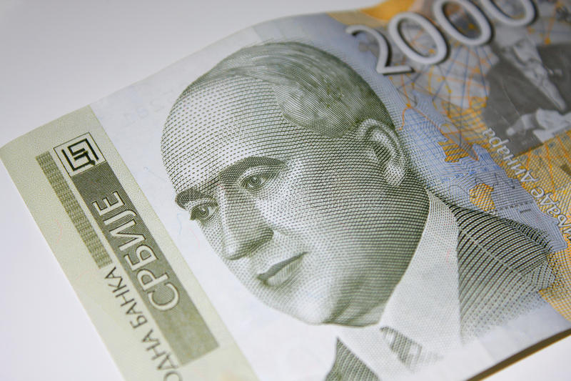 Δηνάρια πέντε jovanovic πορτρέτο σερβικά slobodan χίλια Δηναρίων λογαριασμών Μπιλ 2000 Δηνάρια στοκ εικόνες