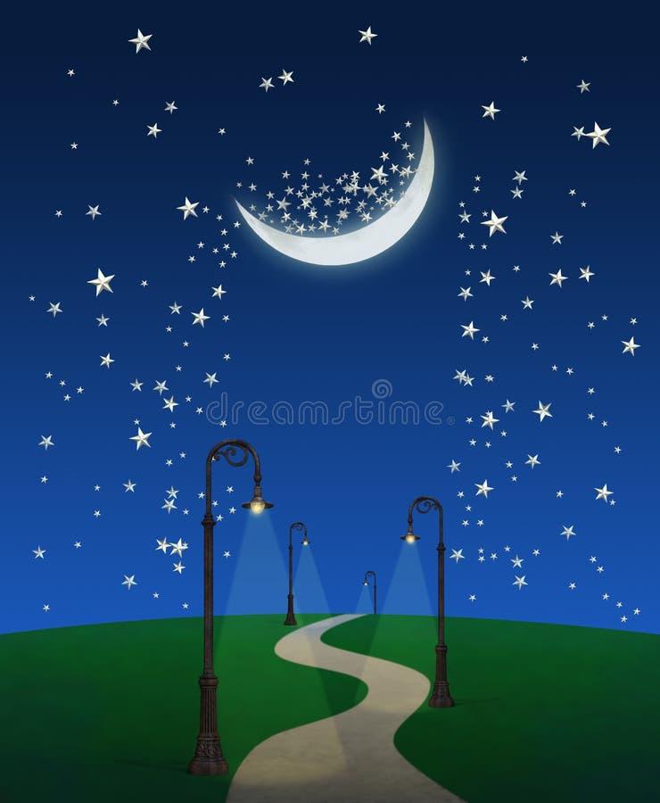 Διάβαση φαντασίας τη νύχτα απεικόνιση αποθεμάτων