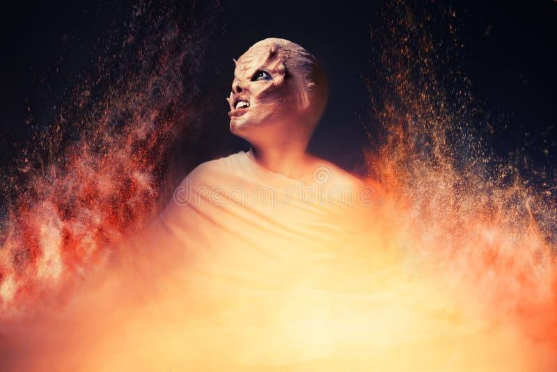 Διάβολος από την κόλαση Κόλαση πυρκαγιάς στοκ φωτογραφίες