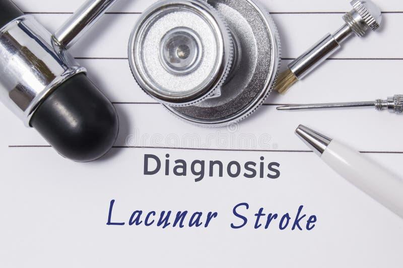 Διάγνωση του Lacunar κτυπήματος Η δήλωση ιατρών ` s με το Lacunar κτύπημα διαγνώσεων είναι στον εργασιακό χώρο νευρολόγων, τα οπο στοκ εικόνα με δικαίωμα ελεύθερης χρήσης