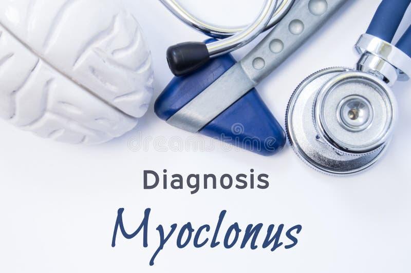 Διάγνωση Myoclonus Ανατομικός αριθμός εγκεφάλου, νευρολογικά σφυρί και στηθοσκόπιο που βρίσκονται στο φύλλο του εγγράφου ή του βι στοκ εικόνες με δικαίωμα ελεύθερης χρήσης
