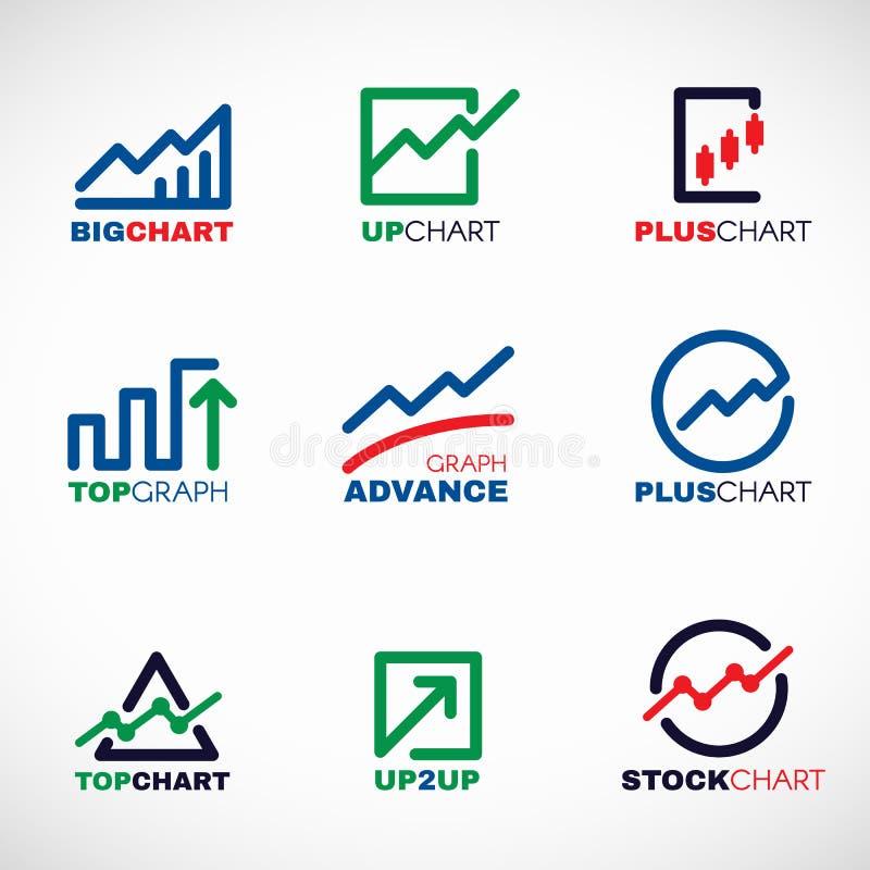 Διάγραμμα αποθεμάτων ή διανυσματικό καθορισμένο σχέδιο λογότυπων γραμμών επιχειρησιακών γραφικών παραστάσεων αγοράς ελεύθερη απεικόνιση δικαιώματος