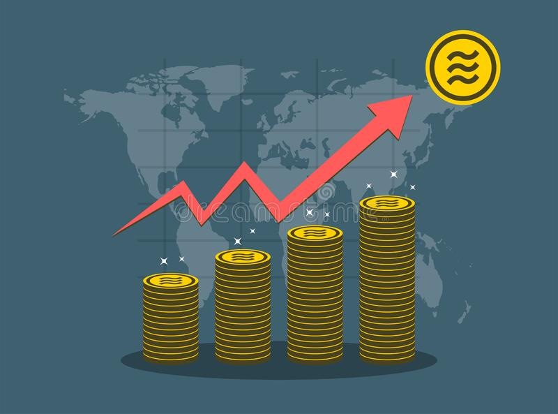 Διάγραμμα αύξησης έννοιας νομισμάτων Libra στον κόσμο χαρτών υποβάθρου διανυσματικός εικονογράφος απεικόνιση αποθεμάτων