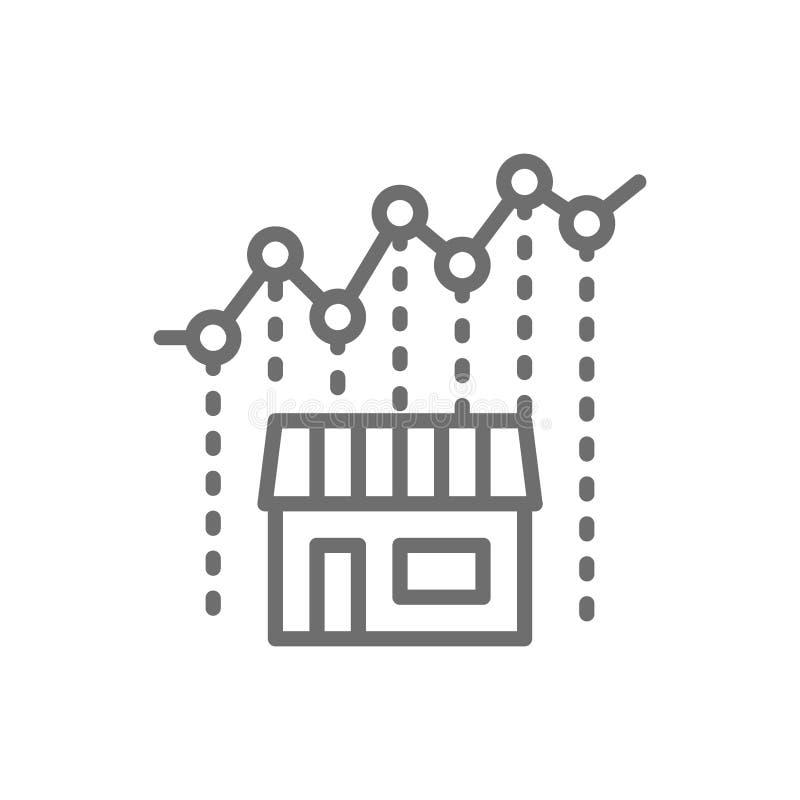 Διάγραμμα αύξησης δεικτών ακίνητων περιουσιών, αυξανόμενο κόστος το εικονίδιο γραμμών διανυσματική απεικόνιση