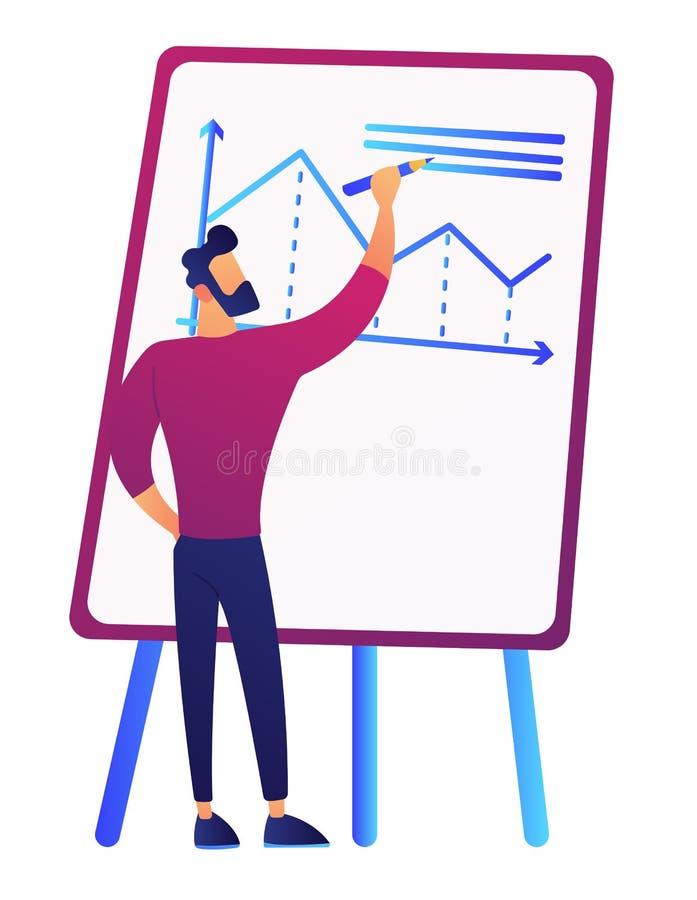 Διάγραμμα αύξησης σχεδίων επιχειρηματιών στη διανυσματική απεικόνιση απεικόνιση αποθεμάτων