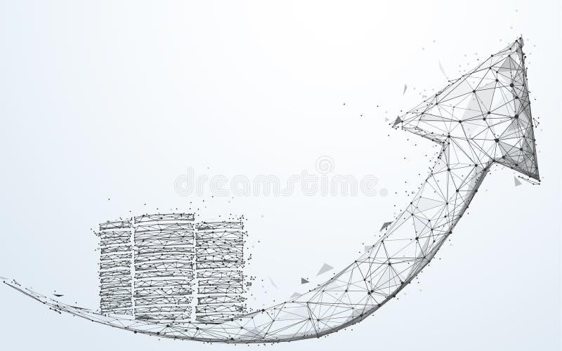 Διάγραμμα βελών και αύξησης νομισμάτων  έννοια επιχειρησιακής επιτυχίας Αφηρημένα γραμμές και τρίγωνα μορφής  σχέδιο ύφους σημείο ελεύθερη απεικόνιση δικαιώματος