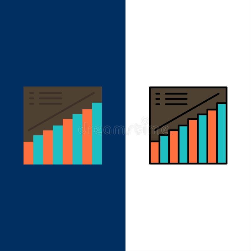 Διάγραμμα, γραφική παράσταση, Analytics, παρουσίαση, εικονίδια πωλήσεων Επίπεδος και γραμμή γέμισε το καθορισμένο διανυσματικό μπ ελεύθερη απεικόνιση δικαιώματος