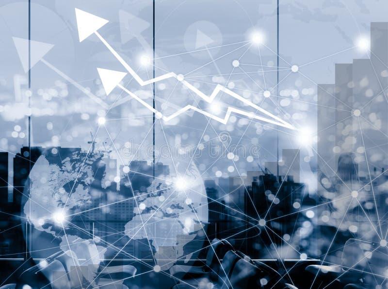 Διάγραμμα γραφικών παραστάσεων αύξησης βελών με την πόλη σύνδεσης δικτύων για το busine διανυσματική απεικόνιση