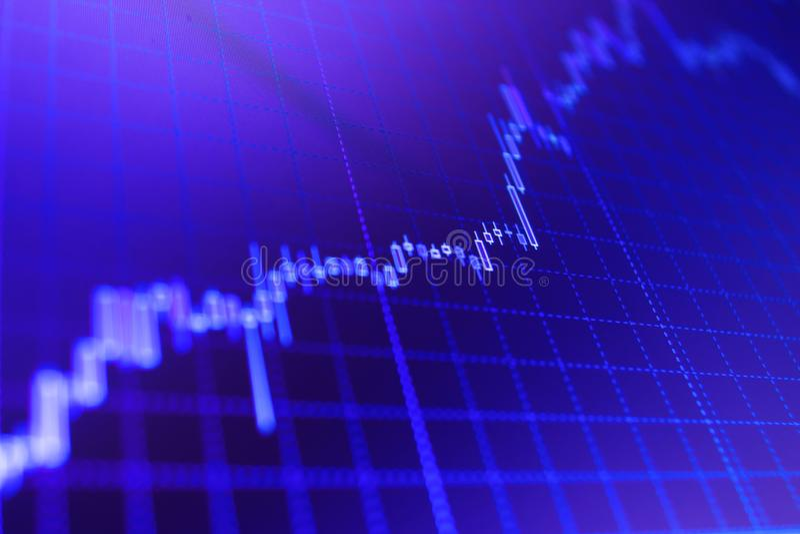 Διάγραμμα γραφικών παραστάσεων ραβδιών κεριών των εμπορικών συναλλαγών επένδυσης χρηματιστηρίου στοκ εικόνα