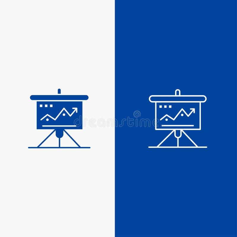 Διάγραμμα, επιχείρηση, πρόκληση, μάρκετινγκ, λύση, επιτυχία, γραμμή τακτικής και στερεά γραμμή εμβλημάτων εικονιδίων Glyph μπλε κ διανυσματική απεικόνιση
