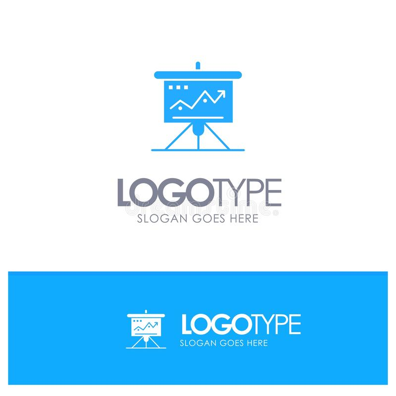 Διάγραμμα, επιχείρηση, πρόκληση, μάρκετινγκ, λύση, επιτυχία, μπλε στερεό λογότυπο τακτικής με τη θέση για το tagline ελεύθερη απεικόνιση δικαιώματος