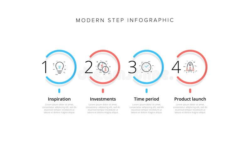 Διάγραμμα επιχειρησιακής διαδικασίας infographic με 4 κύκλους βημάτων Κυκλικά εταιρικά γραφικά στοιχεία ροής της δουλειάς E απεικόνιση αποθεμάτων