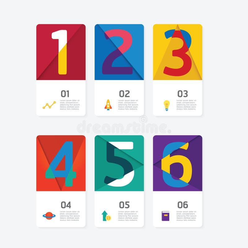 Διάγραμμα διαδικασίας επιχειρησιακών στοιχείων Περίληψη της ζωηρόχρωμης κάρτας αριθμού, ελεύθερη απεικόνιση δικαιώματος