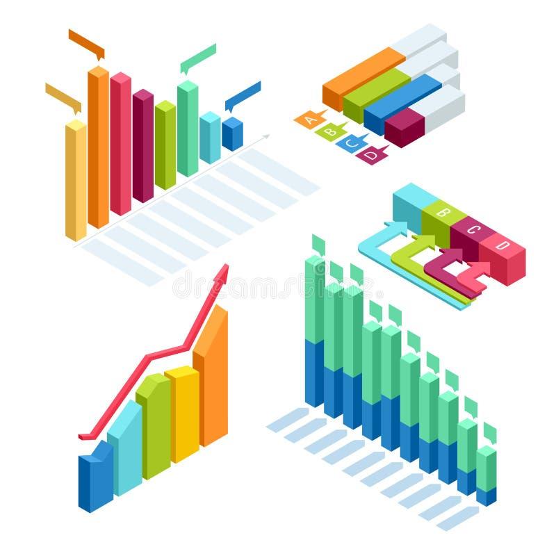 Διάγραμμα και γραφικός isometric, χρηματοδότηση στοιχείων επιχειρησιακών διαγραμμάτων, έκθεση γραφικών παραστάσεων, στατιστική στ απεικόνιση αποθεμάτων
