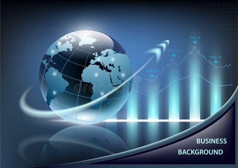 Διάγραμμα και πλανήτης Γη αύξησης με ένα βέλος σε ένα σκούρο μπλε backg ελεύθερη απεικόνιση δικαιώματος