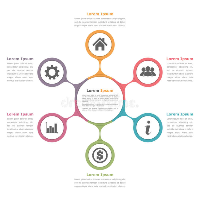 Διάγραμμα κύκλων με έξι στοιχεία ελεύθερη απεικόνιση δικαιώματος