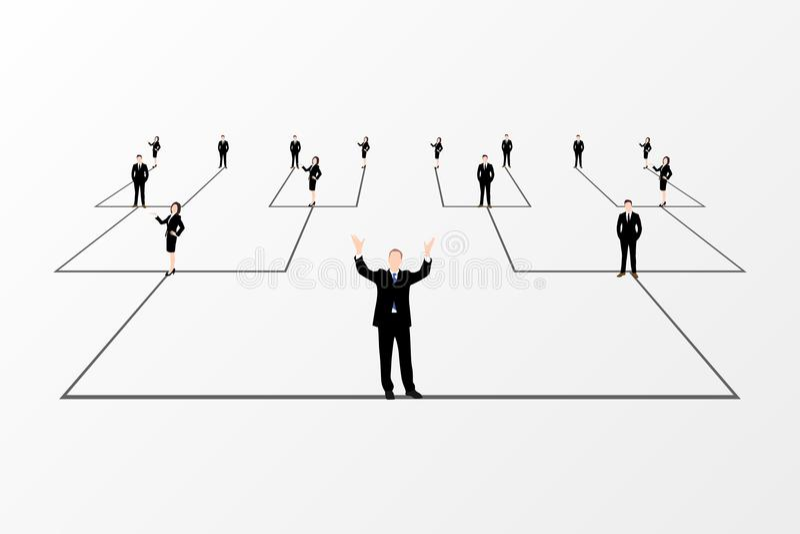 Διάγραμμα οργάνωσης Εταιρική ιεραρχία λευκό επιχειρησιακών δικτύων ανασκόπησης διάνυσμα ελεύθερη απεικόνιση δικαιώματος