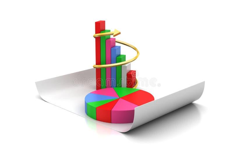 Διάγραμμα πιτών και γραφική παράσταση φραγμών απεικόνιση αποθεμάτων