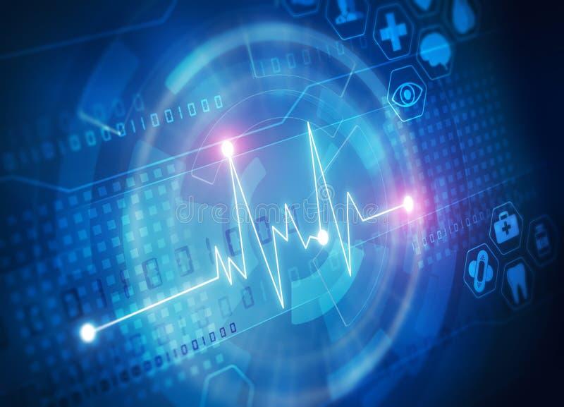 Διάγραμμα ποσοστού καρδιών στην μπλε οθόνη απεικόνιση αποθεμάτων