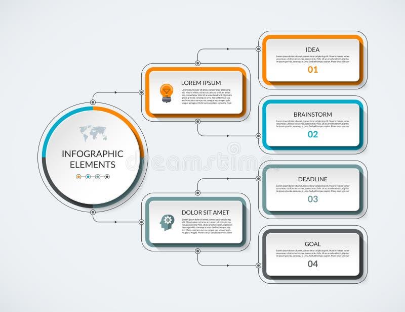 Διάγραμμα ροής Infographic με 4 επιλογές ελεύθερη απεικόνιση δικαιώματος