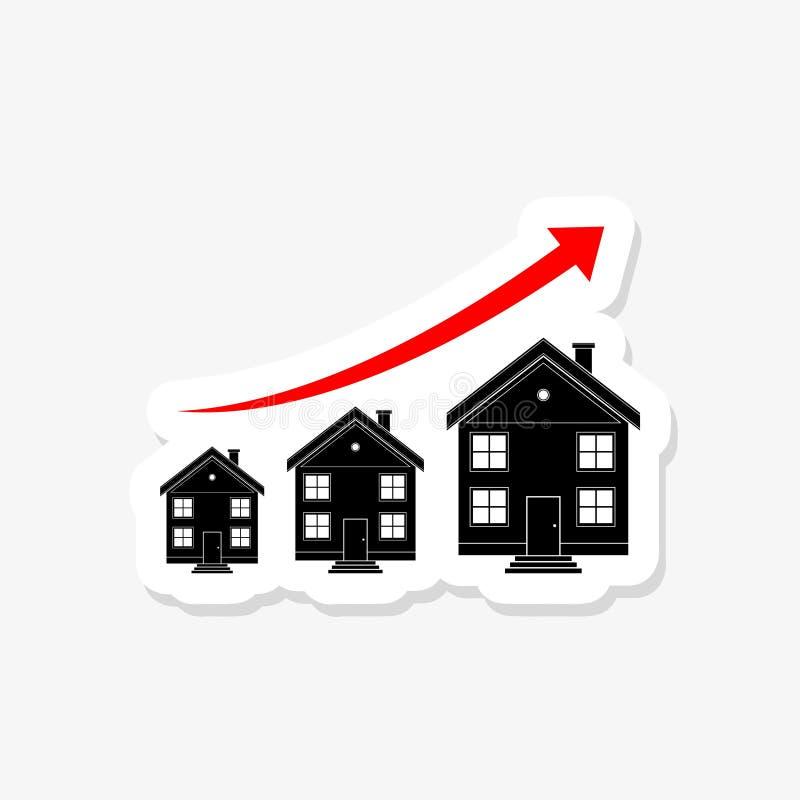 Διάγραμμα της αύξησης των τιμών ακίνητων περιουσιών διανυσματική απεικόνιση